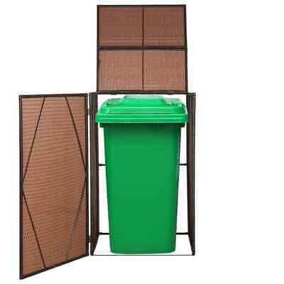 vidaXL Single Wheelie Bin Shed Poly Rattan 76x78x120cm Brown Waste Container