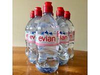 Evian Water 6 x Sport Top 75cl Bottles of Evian Still Water NEW Sealed