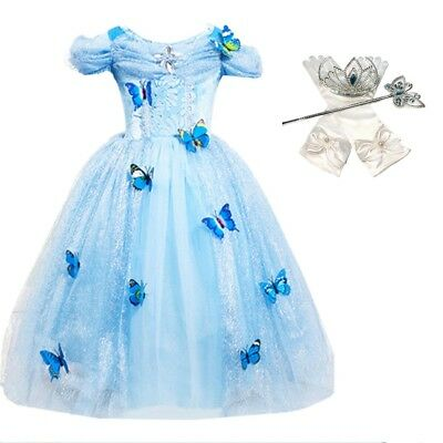 Princess Costume Accessories (DH Princess Cinderella Butterfly Costume Dress with Cosplay Accessories 3-10)