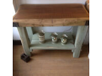 butchers block / kitchen island hand built using reclaimed timber
