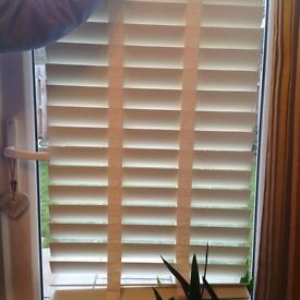 3 x Wooden cream blinds with 5cm depth slats