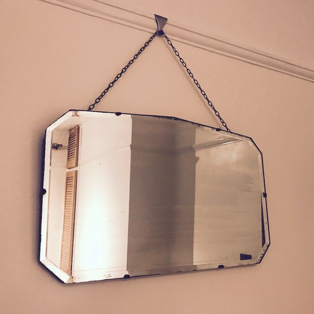 Vintage c1930 Bevelled Mirror with Chain