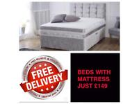 """CRUSHED VELVET BEDS WITH 10"""" MEMORY ORTHOPAEDIC MATTRESS"""
