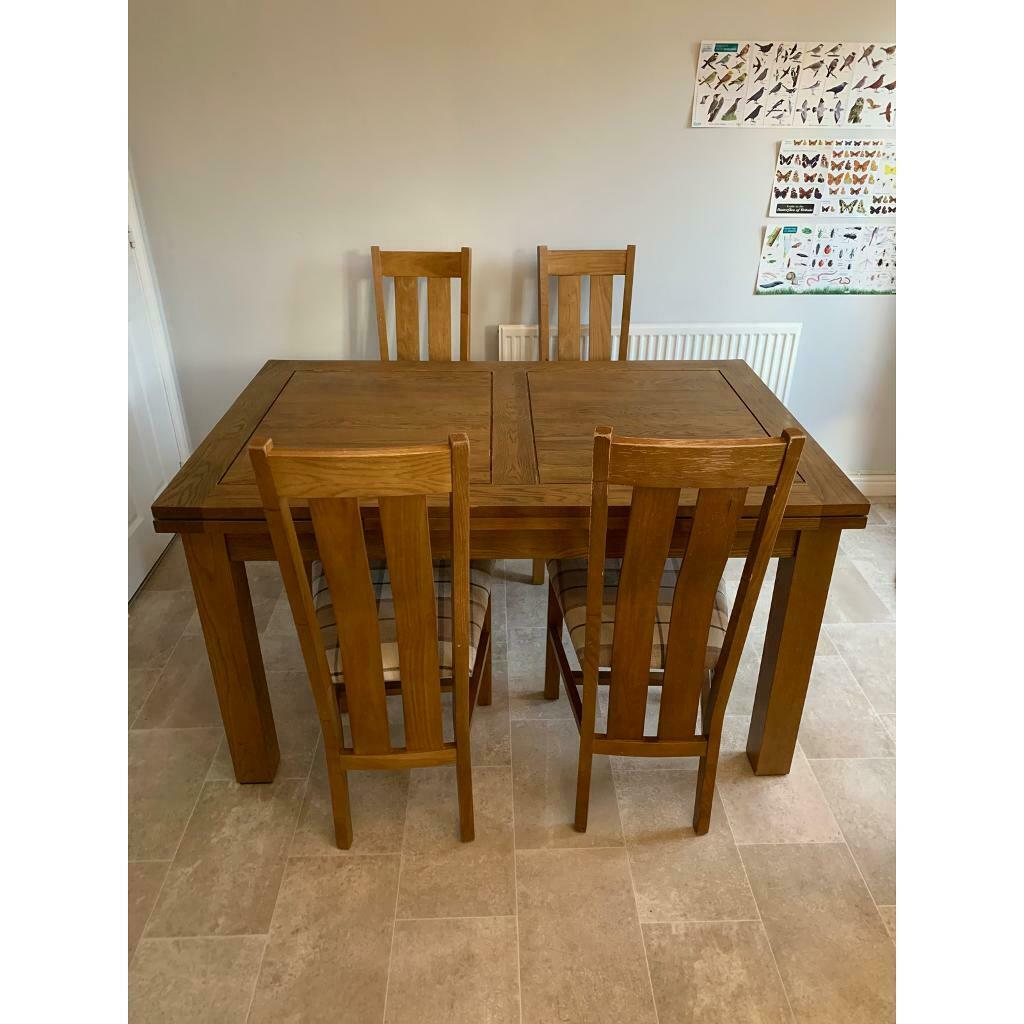 Solid Oak Extendable Dining Table And 4 Chairs In East End Glasgow Gumtree