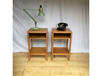 Pair of 1950s arts and craft oak raf air ministry utility design bedside cabinet tables