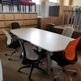 Used boardroom conference meeting table in white with 6 various chairs