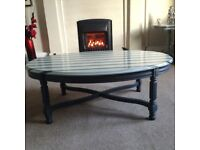 Upcycled Large Oval Vintage Coffee Table