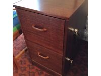 Filing Cabinet, 2-drawer, lockable, in smart polished wood, free local delivery SO31
