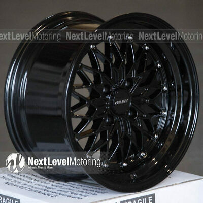 Circuit CP38 15x8 4-100 +20 Full Gloss Black Wheels Fits Honda Civic EG EK Mesh