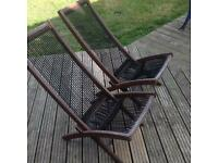 Deck chairs hard wood rope design very comfortable £35