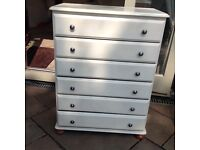Pine 6 drawers chest in cream