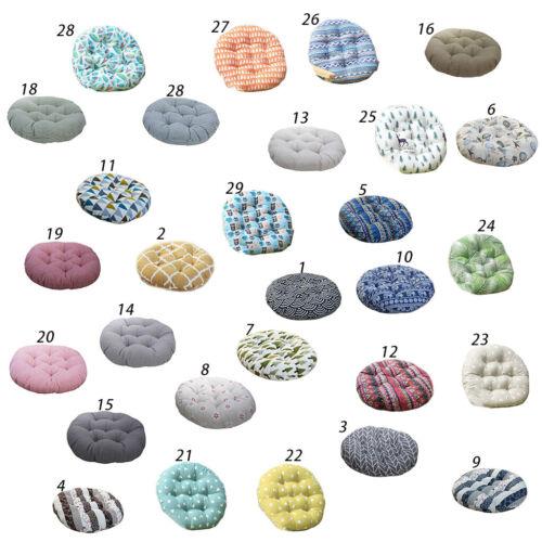 Round Seat Pads Bohemian Geometric Pattern Cotton Linen Thic