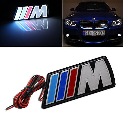 M Power LED illumine Front Emblem Front Grille Grill Badge For BMW Universal