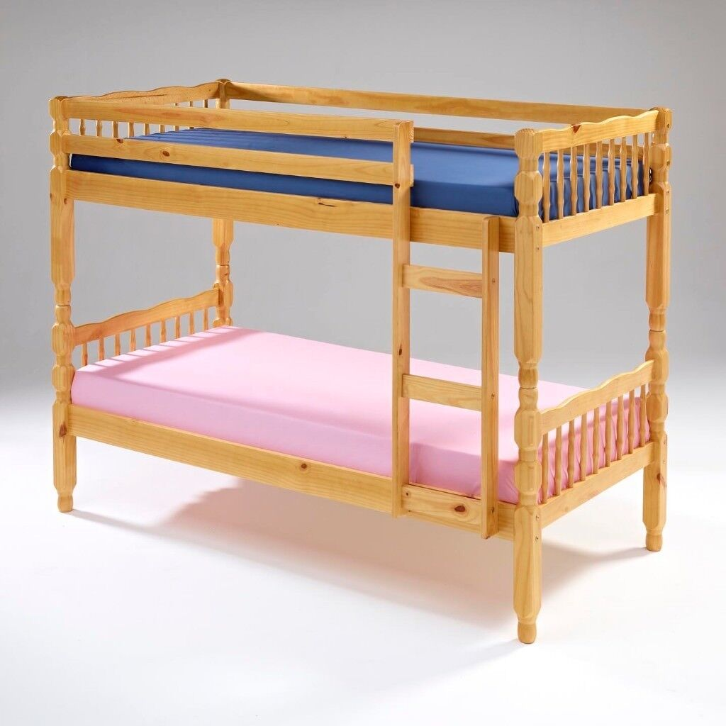 Brand New 3ft Single Pine Bunk Bed Frame Solid Hard Wood Brazilian
