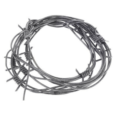Fake Barbed Wire Halloween Prop (8' Fake Silver Barbed Barb Wire Halloween Decoration Wire Prop Gray)