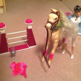 Barbie doll, horse and horse jump