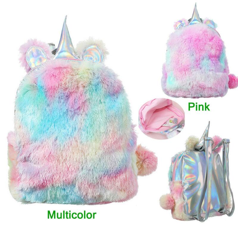 Women Backpack Girl School Unicorn Bag Solid Color Travel Pr