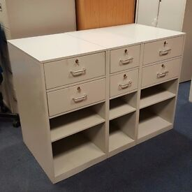 Three Metal Units With two drawers and two shelves