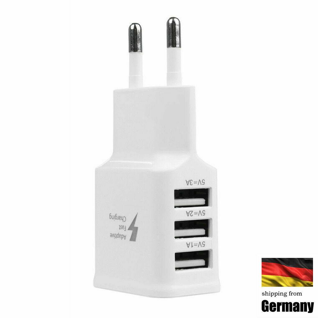 Ladegerät für Samsung mit 3x USB Port 2A Netzteil Netzstecker Adapter Handy Mini