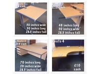 Office desks, various sizes as in photos