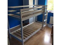 Wooden bunk bed, white, used, bought from Argos, good condition