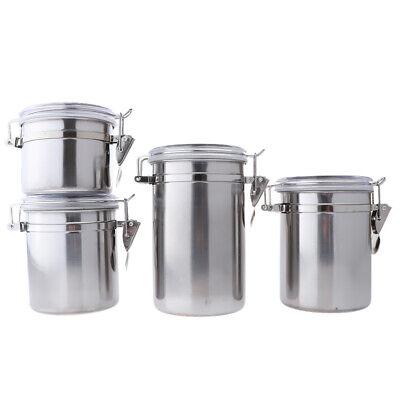 - Stainless Steel Canister with Acrylic Lid and Clamp-Set for Kitchen Camping