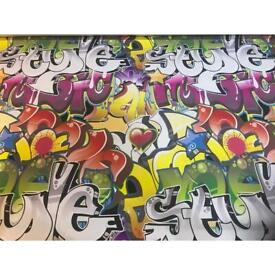 """Blackout Graffiti Roller Blind to fit 52"""" wide window or smaller"""