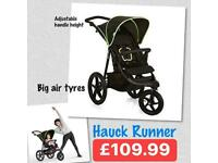 EXDISPLAY HAUCK RUNNER SPORTY JOGGER STYLE 3 wheeler pram pushchair from birth to 25 kg