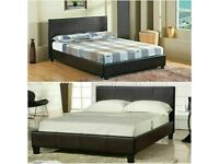 🟦✔️the price is less🟦✔️ (4ft6inch) Double & (5ft)King Size Leather Bed Frame W Opt Mattress