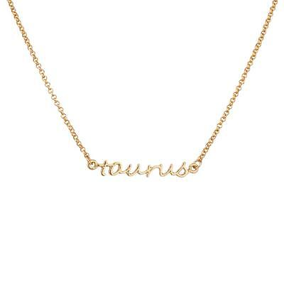 Lux Accessories Taurus Bull Horoscope Zodiac Word Pendant Necklace