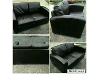 2 seater dark brown genuine leather sofa