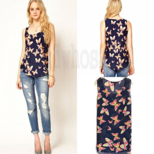Hot Women Butterfly Print Sleeveless Tank Top Vest Chiffon Lady Blouse T-Shirt