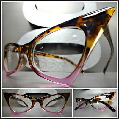 CLASSIC VINTAGE RETRO CAT EYE Style Clear Lens EYE GLASSES Tortoise & Pink (Cat Glasses)