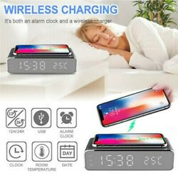 LED Electric Alarm Clock W/Wireless Phone Charger Digital Thermometer HD Clock E