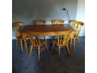 Handmade Farmhouse style Table and 6 x Fiddleback Beech chairs.