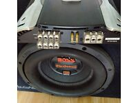 """BOSS The Outcast 2000 WATTS In-Car Subwoofer 12"""" + JBL GTO 504 4 Channel Amp"""