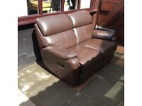 Beautiful, real leather, 2 seater reclining sofa. £150 ONO