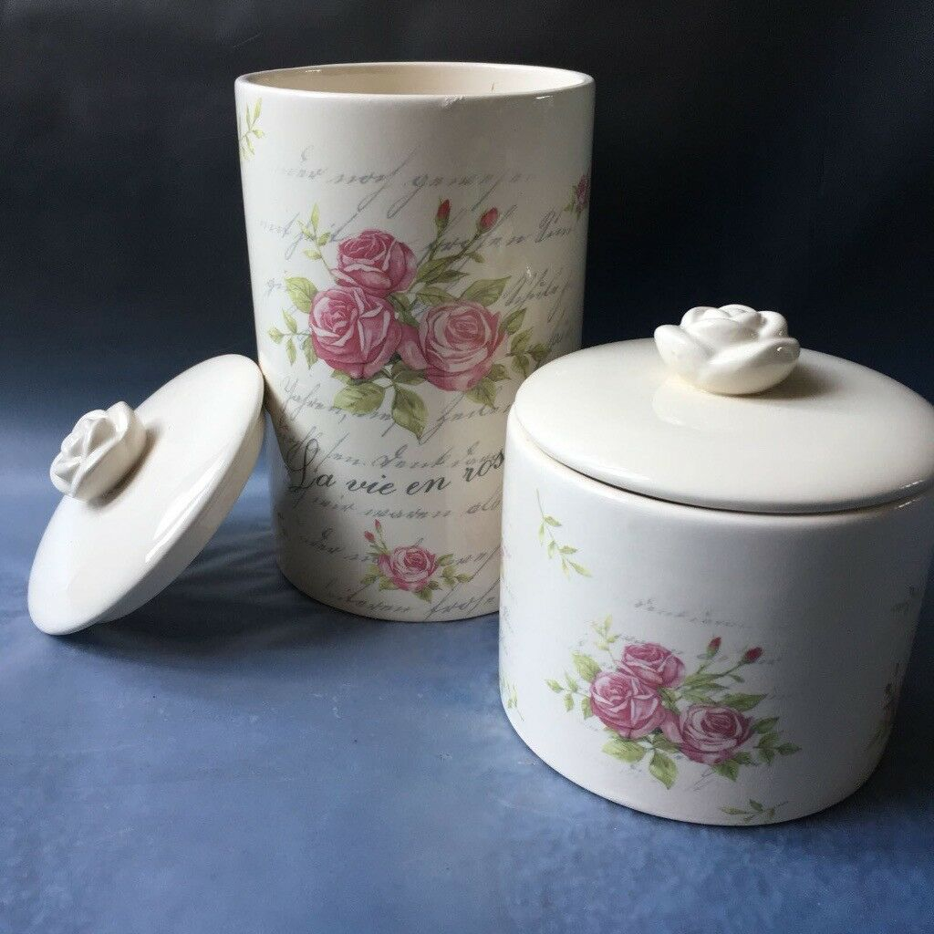 7 Floral pottery storage jars with lids - brand new (5 short and 2 tall)