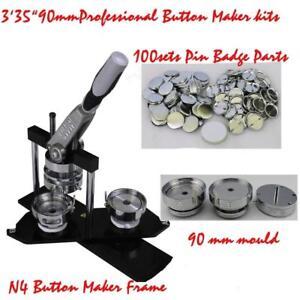 "DIY Button maker kit!! 3'35"" 90mm Badge Maker+100 Pin back Button"