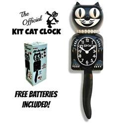 CLASSIC LADY KIT CAT CLOCK 15.5 Black Kit-Cat Klock NEW Free Battery USA MADE