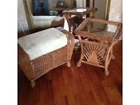 Wicker coffee table and stool