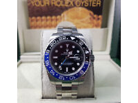 Rolex GMT Master 2 - Batman Edition. Silver Oyster Bracelet, Black/Blue. New, Boxed with Paperwork