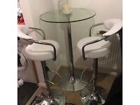 Tall Glass Breakfast Table and Matching Chairs