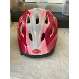 Pink, Red, White and Black Bike Helmet