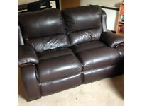 Two seater sofa & reclining chair leather