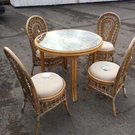 Cane table and 4 chairs cane table and chairs