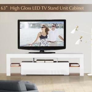 High Gloss White 63 TV Stand Unit Cabinet with LED Light 2 Drawers Console RC - BRAND NEW - FREE SHIPPING