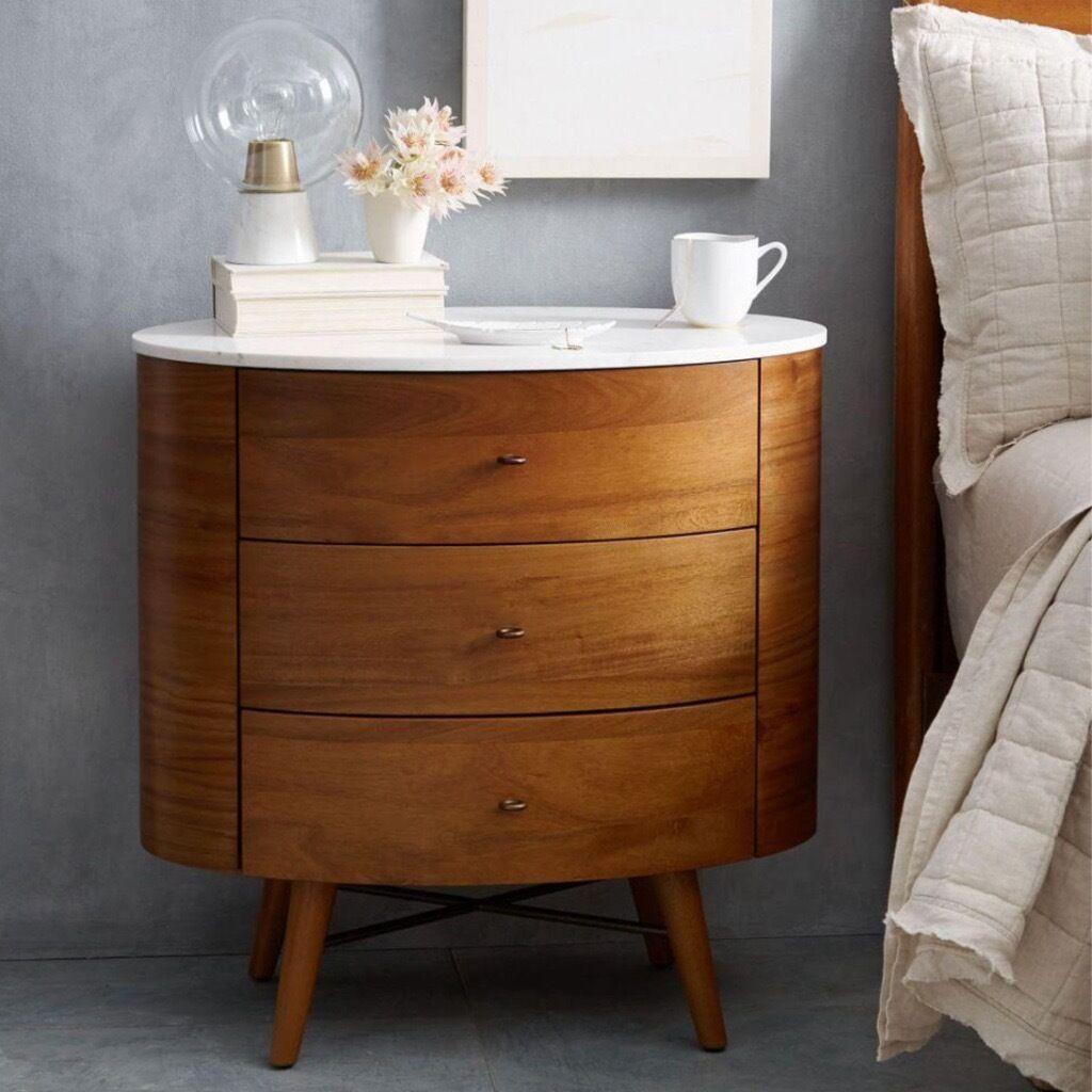 West Elm Penelope 3 Drawer Bedside Table X 2