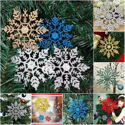 12pcs Pack Hanging Glitter Snowflakes Xmas Tree Christmas Party Home Decoration - Hanging Snowflakes