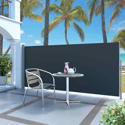 vidaXL Retractable Side Awning 140x300cm Black Patio Privacy Screen Blind